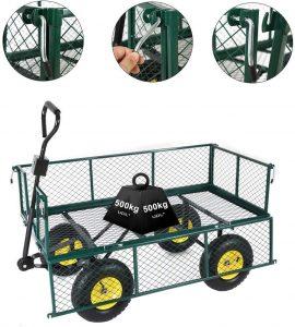 Anaelle Pandamoto Chariot de Transport Charrette à Bras sur Maison, Jardin, Entrepôt et Ferme etc, Support Maximale de 500kg